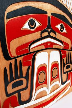 Time Traveller by Dean Hunt, red cedar panel, Northwest Coast Native Art