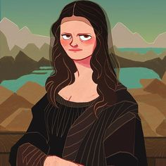 The mysterious smile of Mona Lisa. #dixieleota #artist #art #leonardo_da_vinci #renaissance #mona_lisa #art_parody_project #illustration #digital_art