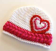 Cherise hat made up for Valentines Day with a heart applique. #crochet #patternparadise #crochetpattern #valentinesday #valentine #heart #hat #beanie