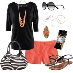 coral shorts paired with black