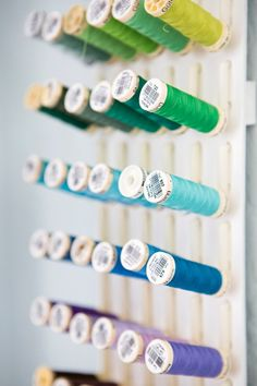 Something Turquoise DIY thread rack made out of peg board