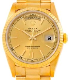 Rolex Day Date President Mens 18k Yellow Gold Watch 18238. Get the lowest price on Rolex Day Date President Mens 18k Yellow Gold Watch 18238 and other fabulous designer clothing and accessories! Shop Tradesy now