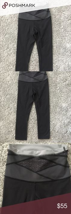 Lululemon leggings Black Lulu leggings with thick band. No tag inside. You can see some lent on the leggings since they're black and pick up every little thing but price reflects the missing tag and small lent on pants. Other than that great condition and has a small pocket on the top back. Cropped so go to mid calf on me and I'm 5'3 lululemon athletica Pants Leggings
