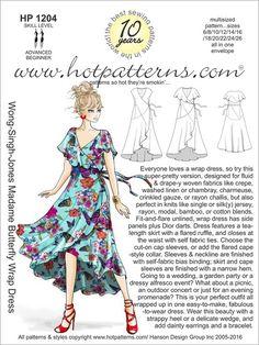 HP 1204 Wong-Singh-Jones Madame Butterfly Wrap Dress - HotPatterns.com