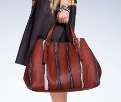 Bottega Veneta Burnt Red Washed Nappa Intrecciato Glimmer Tote Bag