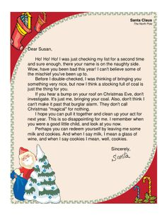 This printable letter from santa claus to a little boy thanks him this printable letter from santa is for adults only it jokes about the recipient being on the naughty list and deserving of coal in the stocking spiritdancerdesigns Gallery