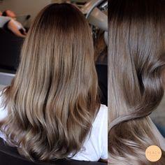 Askig bronde ombre hårfärg med beigeblond och cendré
