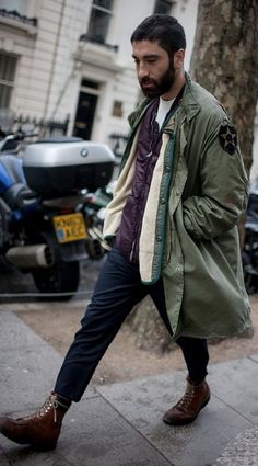 boots  cropped trouser  coat  beard