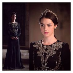 LAKRAUSE Victorian lace and rhinestone headpiece paired with an Alexander McQueen gown featured on Reign.  #lakrause #reign #alexandermcqueen