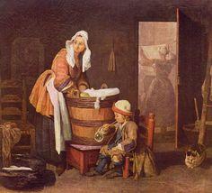 """A Lavadeira"".  (c.1735).            (by Jean-Baptiste Siméon Chardin)."