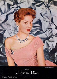 Christian Dior (Jewels) 1957 Set of Jewels, Création Francis Winter Christian Dior Vintage, Vintage Dior, Vintage Couture, Mode Vintage, Vintage Beauty, Vintage Gowns, Dior Jewelry, Jewelry Ads, Jewellery