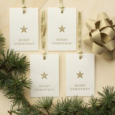 Set of four gold Merry Christmas letterpress by letticashop