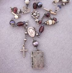 Vintage Religious Sterling Silver Book Charm Upcycled Necklace - one of a kind by jryendesigns.etsy.com