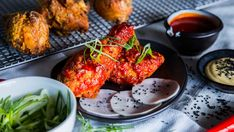Korean Fried Chicken with Pickled Daikon and Mayonnaise - Time to get your spicy chicken on with Family Food Fight Honey Baked Chicken, Baked Chicken Drumsticks, Korean Fried Chicken, Tandoori Chicken, Chicken Drumstick Recipes, Fried Chicken Recipes, Wing Recipes, Asian Recipes, Ethnic Recipes