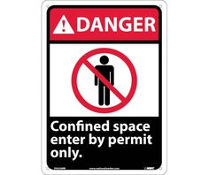 Danger, CONFINED SPACE ENTER BY PERMIT ONLY, 14X10, Rigid Plastic