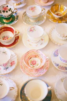 search for vintage tea cups at antique stores & thrift shops to gift to the bride-to-be after the shower