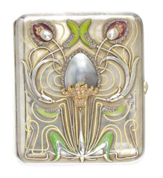 Art Nouveau jewelled and enamelled silver cigarette case by Bolin, Moscow, 1899-1908