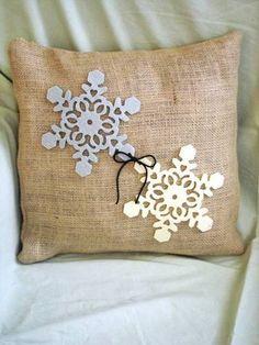 Rustic burlap snowflake pillow
