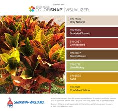 I found these colors with ColorSnap® Visualizer for iPhone by Sherwin-Williams: Fragile Beauty (SW Fired Brick (SW Eminent Bronze (SW Cayenne (SW Positive Red (SW Auric (SW Offbeat Green (SW Green Colour Palette, Green Colors, Red Green, Colour Palettes, Playroom Decor, Color Pallets, Exterior Colors, Color Combos, Paint Colors