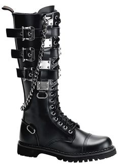 boot with buckles and chains