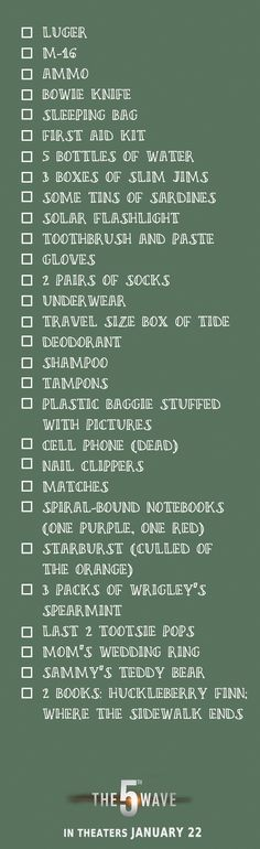 Cassie's Alien Apocalypse packing list. Check! | The 5th Wave hits theaters Jan 22, 2016 #5thWaveMovie