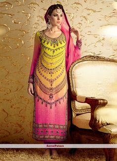 Grandiose Hot Pink and Yellow Embroidered Work Designer Suit