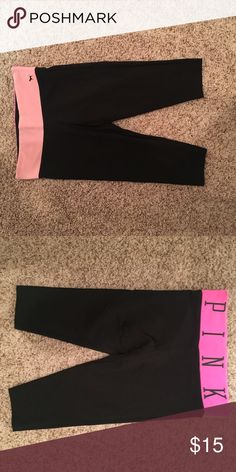 Pink yoga cropped leggings Vs pink PINK Victoria's Secret Pants Leggings
