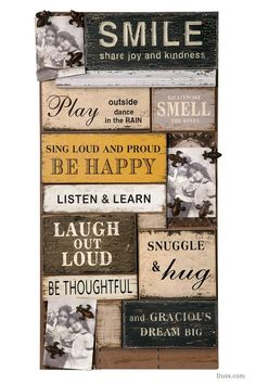 Vintage Wooden Wall Art Smile : For sale at www.DUSX.com A collage of words and proverbs that make me smile I keep this wall plaque above my dressing table. It also comes with magnetic metal studs so that your favourite pictures are easily attached