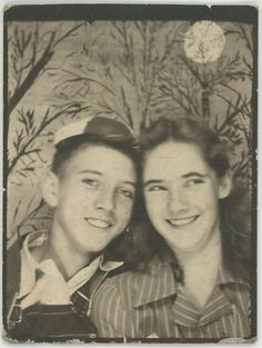 vintage Photo Booth shot. Didn't realize photo booths were that old! Looks like they're from the 50s....   -Dane