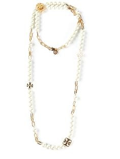 TORY BURCH charm and pearl necklace on Vein - getvein.com