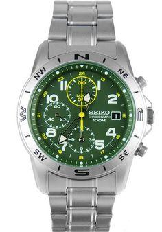 Montre Seiko SND377P1 chronographe avec bracelet et boîtier en acier, fonction alarme et date.