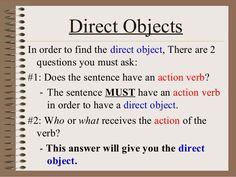 Action Verb Direct Object Poster   Verbs lesson plan ...  Direct And Indirect Object Chart