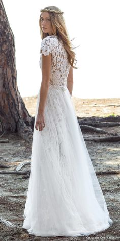 christos costarellos bridal spring 2016 sleeveless pearl lace wedding dress sheath sheer a line overskirt