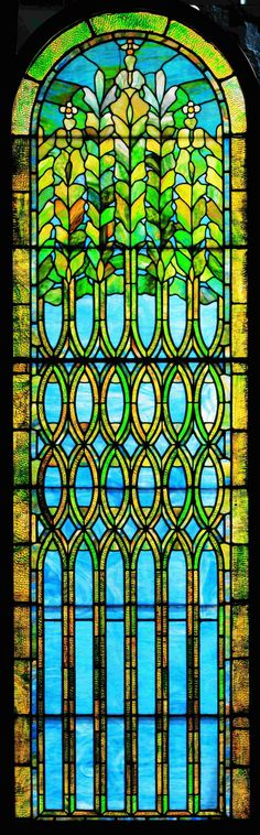 Window, after 1902. First Presbyterian Church, Hoboken, New Jersey, 1865-1964; abstract floral design; leaded glass; Tiffany Studios, New York City, 1902-32; 85 3/4 x 25 1/2 in. (65-006).