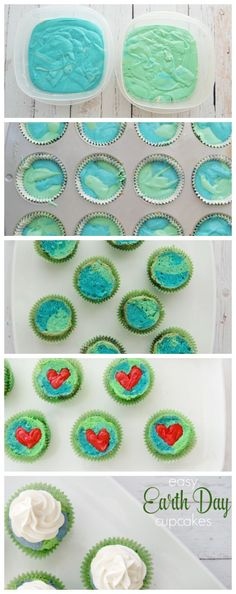 Easy Earth Day Cupcakes - Teaching Kids to Recycle - A Helicopter Mom Earth Day Tips, World Earth Day, Kid Cupcakes, Themed Cupcakes, Earth Day Information, Eco Friendly Cleaning Products, Earth Day Crafts, Build A Better World, Earth Day Activities
