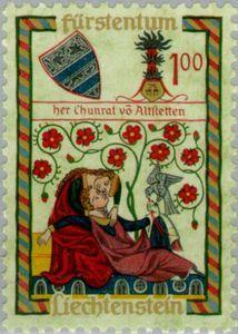 Issued in 1961, Liechtenstein - Codex Manesse