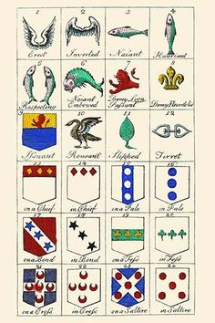 Heraldry - Charges. High quality vintage art reproduction by Buyenlarge. One of many rare and wonderful images brought forward in time. I hope they bring you pleasure each and every time you look at t