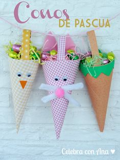 Conos de chuches Pascua Easter Crafts For Seniors, Easter Arts And Crafts, Spring Crafts, Crafts For Kids, Happy Easter, Easter Bunny, Candy Crafts, Easter Traditions, Easter Activities