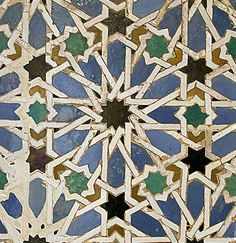 The Mudéjar style, a symbiosis of techniques and ways of understanding architecture resulting from Muslim and Christian cultures living side by side, emerged as an architectural style in the century on the Iberian peninsula. Islamic Decor, Islamic Art, Geometric Designs, Geometric Patterns, Mediterranean Tile, Surface Design, Iberian Peninsula, Tangle Patterns, 12th Century