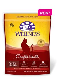 Wellness Natural Pet Food Complete Health Senior Health Recipe--natural dry cat food that supports aging cats. Learn more: http://weln.es/1jgsQYE