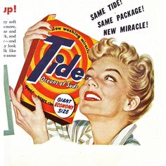 1950s Vintage Laundry Ad TIDE DETERGENT Magazine Print Advertisement... ❤ liked on Polyvore featuring home and home decor
