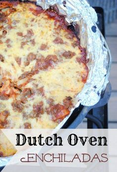 Dutch Oven Enchiladas Recipe   http://homestead-and-survival.com/dutch-oven-enchiladas-recipe/   Using a dutch oven is a fantastic way to cook delicious foods outdoors and make camping trips a lot more memorable and fun. #survivalcooking