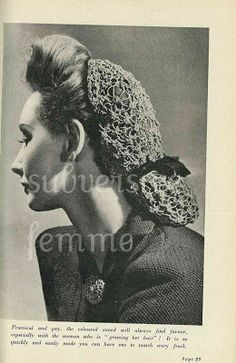Subversive Femme: Knitted Snood Pattern, mid 40s