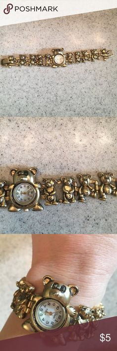 Teddy bear watch Adorable gold toned watch with teddy bears. Fold over clasp. Needs battery. Each link moves so should be able to remove. Jewelry Bracelets
