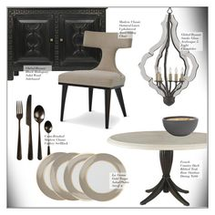 """Dining Room Decor"" by kathykuohome ❤ liked on Polyvore featuring interior, interiors, interior design, home, home decor, interior decorating, Freddy, dining room, diningroom and Home"