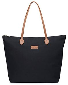 NNEE Water Resistant Light Weight Nylon Tote Bag Handbag -- Check this awesome product by going to the link at the image. Nylon Tote Bags, Casual Bags, Satchel Purse, Handbags Online, Leather Handle, Wallets For Women, Shoulder Bag, Water, Amazon