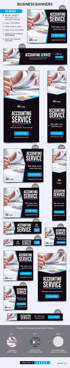 Business Banners — Photoshop PSD #flat design #marketing • Available here → https://graphicriver.net/item/business-banners/13490206?ref=pxcr