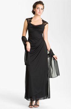 Main Image - Xscape Open Back Draped Mesh Gown