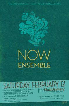 Now Ensemble  •  Music Gallery poster  •  designed by jjparé  •  jjpare.tumblr.com New York School, Poster Layout, Layout Inspiration, Gallery, Music, Design, Musica, Musik, Muziek