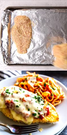 This delicious Oven Baked Chicken Parmesan recipe is easy and doesn't require any frying. Because this chicken Parmesan is baked, it is healthy, quick and easy! Make this crispy baked Parmesan crusted chicken for dinner tonight in about thirty minutes! Best Italian Recipes, Baked Chicken Recipes, Recipe Chicken, Chicken Queso Bake, Bake Chicken In Oven, Easy Stuffed Chicken Recipes, Chicken Spaghetti Recipes, Healthy Baked Chicken, Italian Dinner Recipes